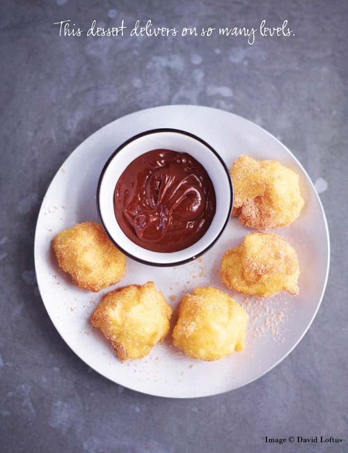 BEIGNETS SOUFFLÉS WITH HAZELNUT CHOCOLATE SAUCE!! Recipe from Masterchef: The Finalists by Dale Williams, Natalie Coleman & Larkin Cen.