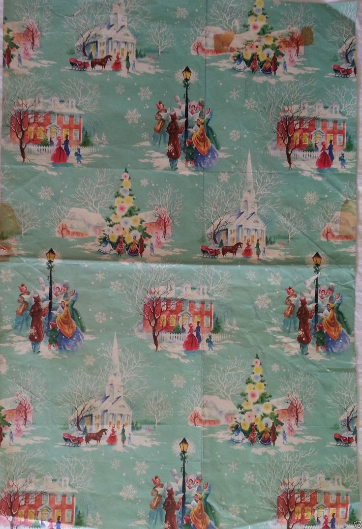 USED Christmas Wrapping Paper Vintage 1940s 1950s 1960s | eBay