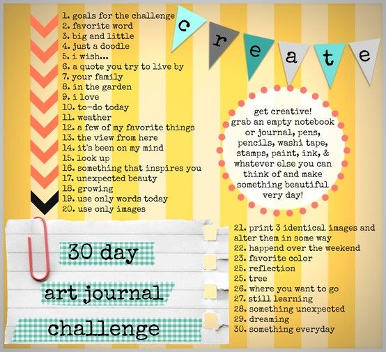 30 day art journal challenge with a promt for everyday