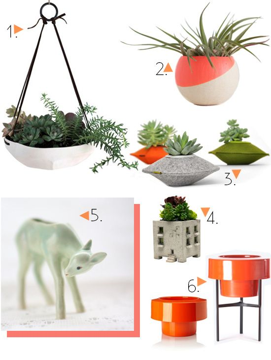 Vintage and modern planters and vessels for succulents & air plants.