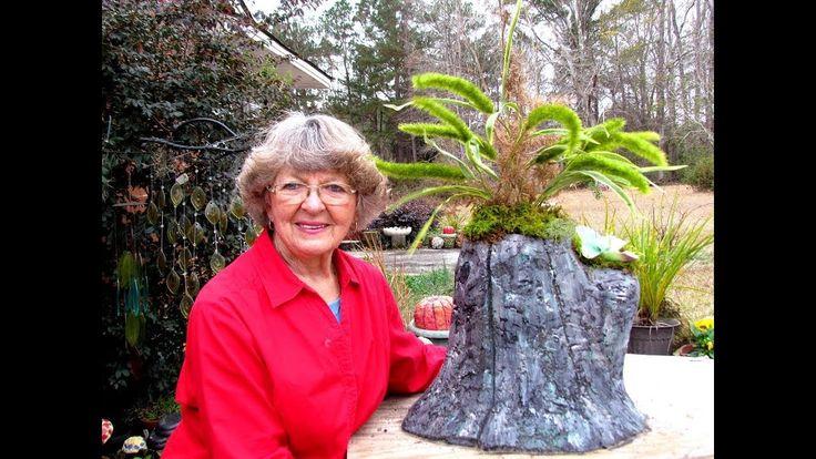 My New Portland Cement Tree Stump Flower Pot