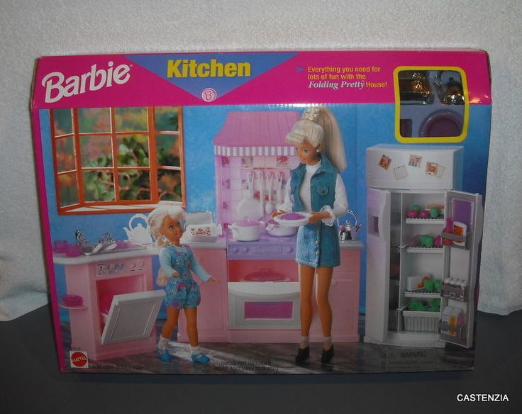 52 best barbie kitchens images on pinterest barbie for Little girl kitchen playset
