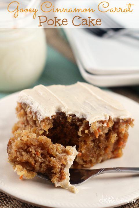 Gooey Cinnamon Carrot Poke Cake ~ http://www.julieseatsandtreats.com