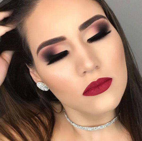 maquiagem de festa com batom vermelho  makeup