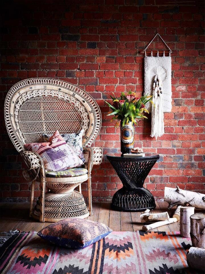 Peacock Chair Boho Sitting Room #interiorinfatuation #johnnywas