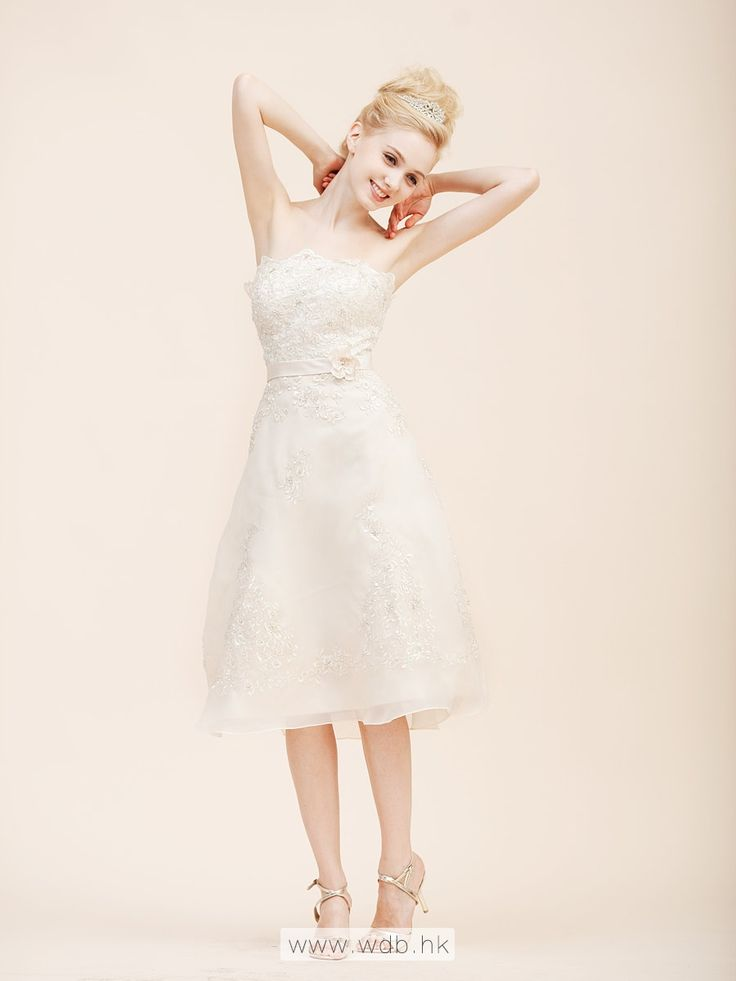 Strapless A Line Organza Little White Dress with Beading $169.99