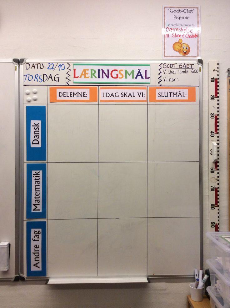 Så fik vi endelig et ekstra whiteboard op i 3. klasse. Det skal bruges til at vise eleverne, hvad vi arbejder med, hvad opgaverne er, og hvad målet er. Eleverne kender allerede til dette, og er virkelig positive overfor den synlige læring i de forskellige fag ;-) Evalueringen foregår oftest mundtligt udfra målet i slutningen af hver time/fag ;-)