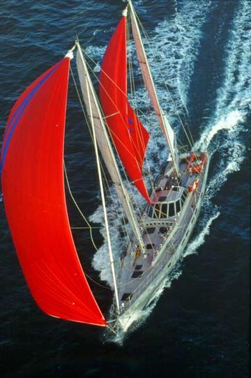 """""""Beowulf"""", the Dashew's 78-foot sailboat. She is known to sail up to 300 nm per day (much, much faster that the average)!"""