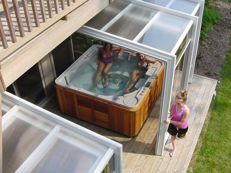 Endless summer spa enclosure deck hardscape pinterest for Hot tub enclosures plans