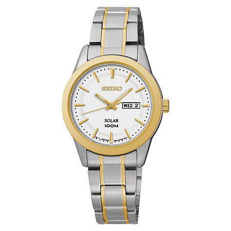 Buy Seiko SUT162P1 Women's Solar Stainless Steel Bracelet Strap Watch, Silver/Gold Online at johnlewis.com