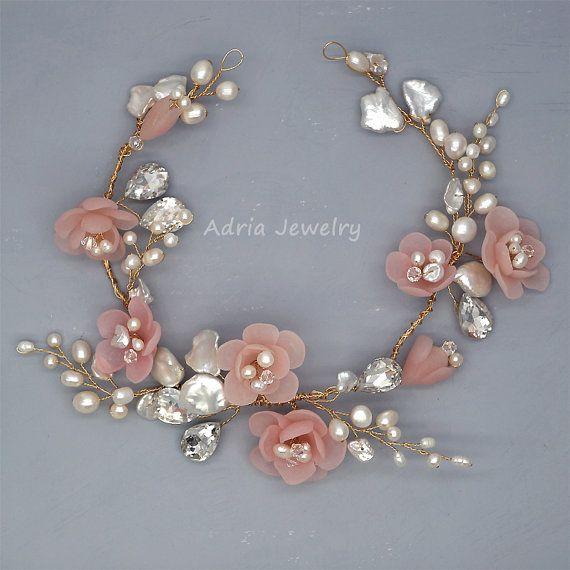 Pelo novia guirnalda Blush boda rosa vides flores pelo novia