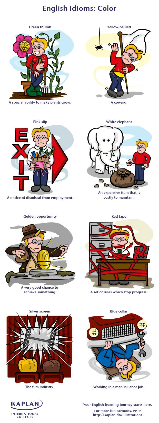 Free English Vocabulary Lesson - Color Idioms! - repinned by @PediaStaff – Please Visit ht.ly/63sNtfor all our ped therapy, school & special ed pins
