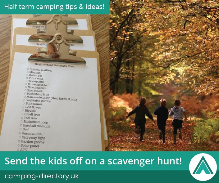Send the kids off on a scavenger hunt! Autumn. Half Term. Camping Tips. Travel. Holiday. UK. Ireland.