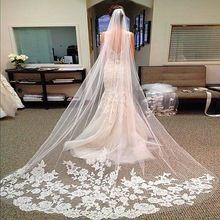 2015 venda quente 3 metro longo de tule de casamento acessórios Lace véu de noiva véus branco / marfim catedral véu com pente noiva 3 m(China (Mainland))