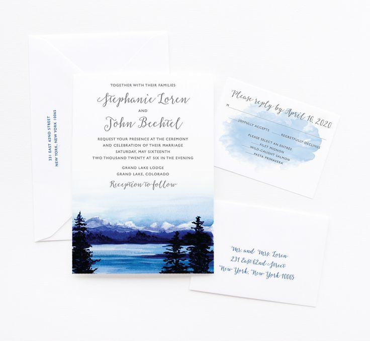 custom wedding invitations new york city%0A Watercolor Blue Mountain wedding invitation suite by artist Michelle  Mospens    MOSPENS STUDIO