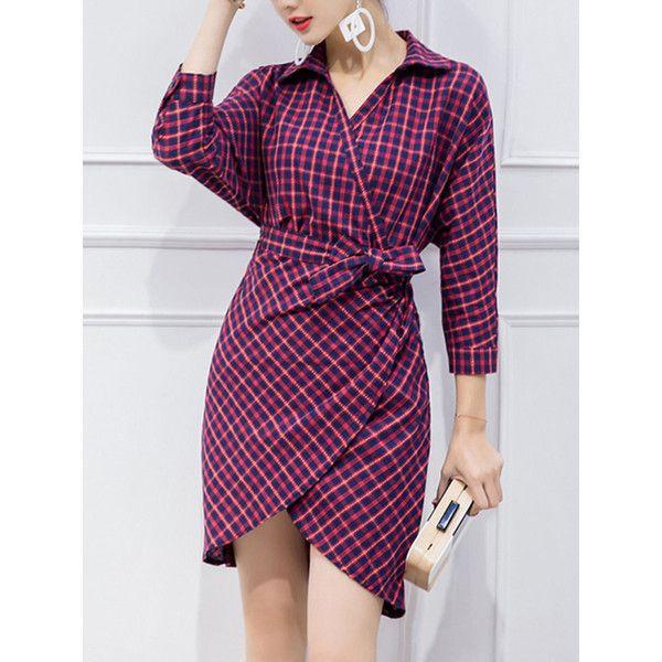 V-Neck Plaid Tulip Bodycon Dress (680 EGP) ❤ liked on Polyvore featuring dresses, batwing dress, v neck bodycon dress, cotton dress, 3 4 sleeve bodycon dress and v neck 3/4 sleeve dress