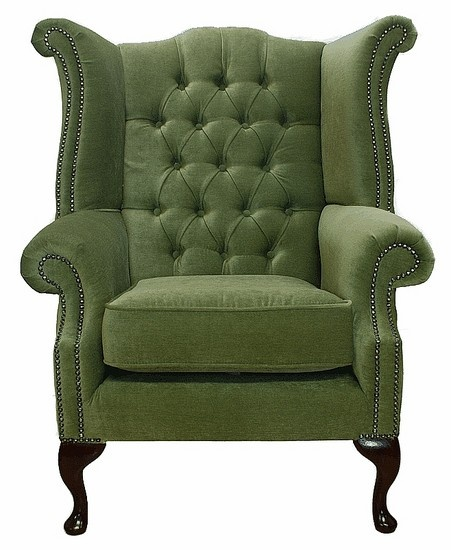 Albury Wing Chair Sage Green Leather Sofas Traditional