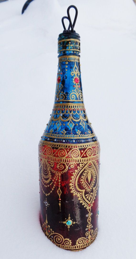 Glass Bottle Smoking Pipe Bottle Hand-Painted Henna by Behennaed