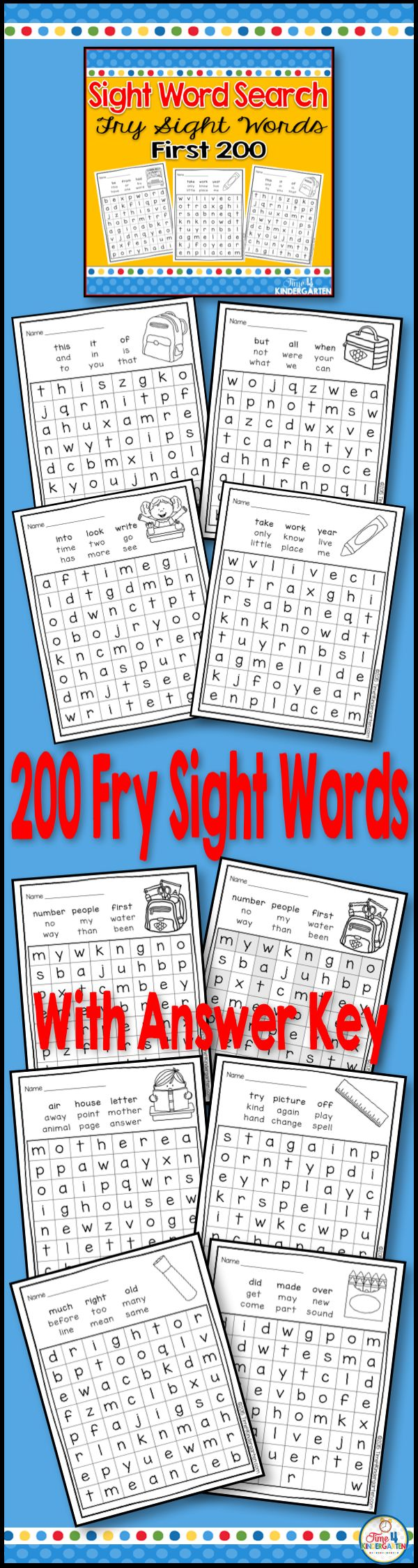Sight Word Search for kindergarten.  Help students review their sight words with this fun sight word set that contains 110 FRY sight words.
