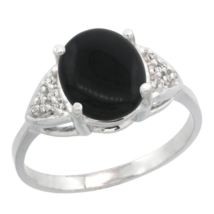 14k White Gold Diamond Natural Black Onyx Engagement Ring Oval 10x8mm, sizes 5-10 * Startling review available here  : Engagement Rings