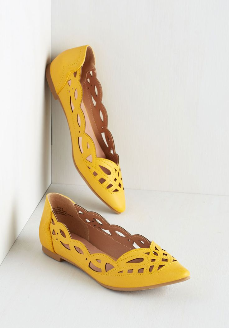 On Second Trot Flat in Sunshine. When deciding whether to flaunt these bright yellow flats from Restricted, you don't think twice! #yellow #modcloth