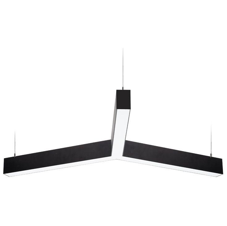 Подвесной декоративный светильник YOU. Несколько секций линейного светильника легко стыкуются в модульную конструкцию образуя трехконечную фигуру или букву Y. Стандартное покрытие корпуса порошковая краска, цвет краски по выбору из таблицы кодов RAL. Подвесной светодиодный светильник имеет степень защиты IP 42. Опционально Подвесной декоративный светильник производится двухсторонним с одновременно направленным световым поток как вниз так и вверх.