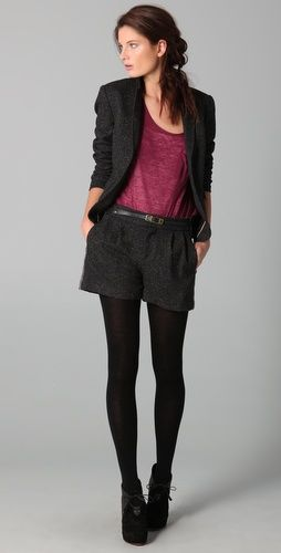 love the shorts with tights and a blazer for winter look :)
