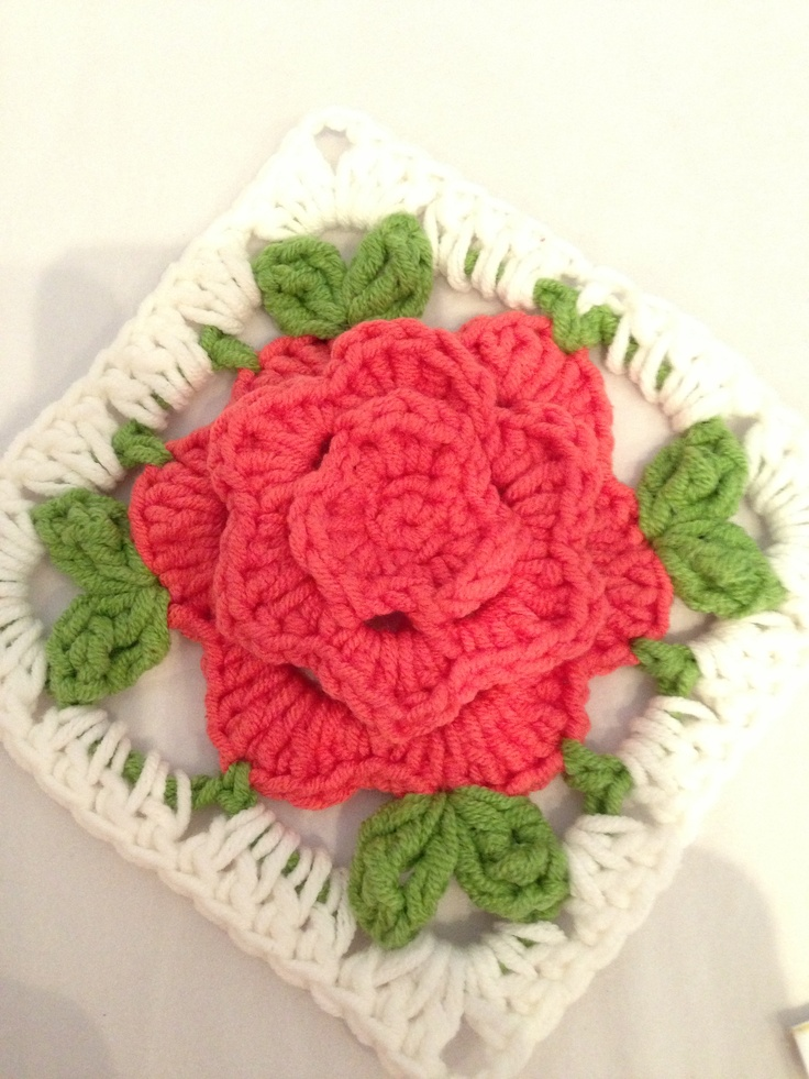 Crochet Chinese Rose Granny Square I made Pinterest ...