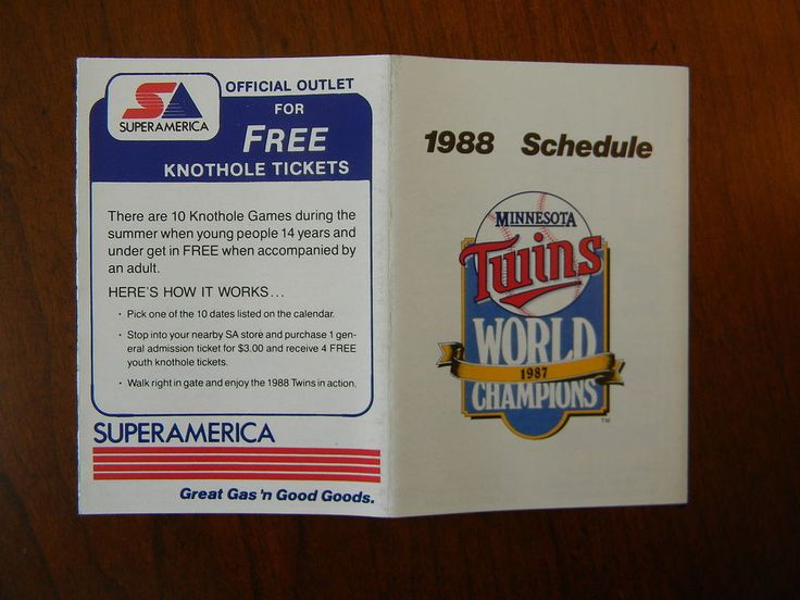 1988 MLB MINNESOTA TWINS BASEBALL SCHEDULE - SUPER AMERICA J1807