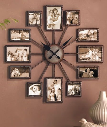 Wall clock of photo frames - what an original idea and cute too!