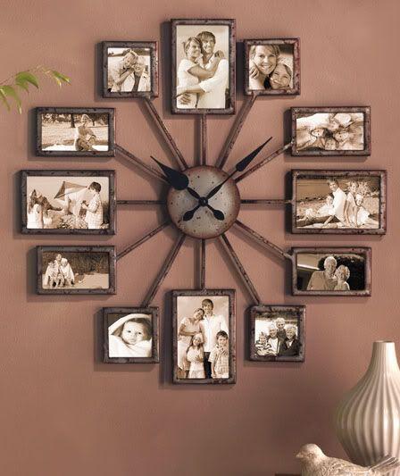 une horloge composée de cadres photos...