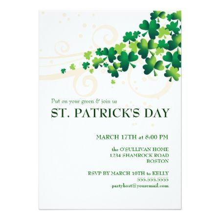St. Patricks Day Irish Shamrock Party Invitation - tap, personalize, buy right now!