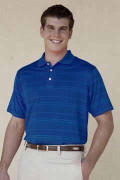 Performance Apparel | Vansport Three-Color Striped Polo.   Raised grid texture yields a unique, sharp appearance