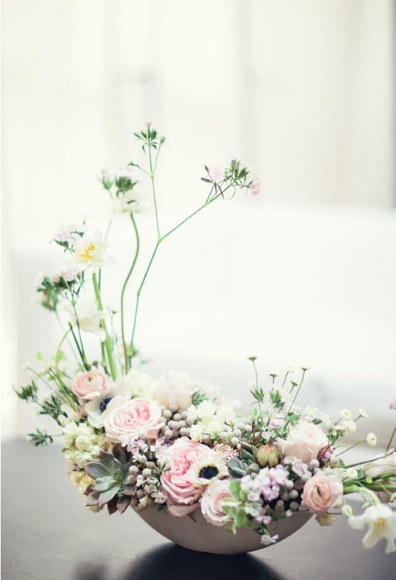 Japanese ikebana-inspired cherry blossom centerpiece from Dandelion Ranch