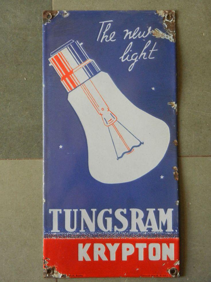 Rare Vintage Tungsram Krypton Bulb Ad Porcelain Enamel Sign Board ADV EHS