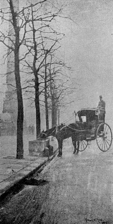 A November Morning - the Embankment, London, 1899 by Harold W. Lane. S)