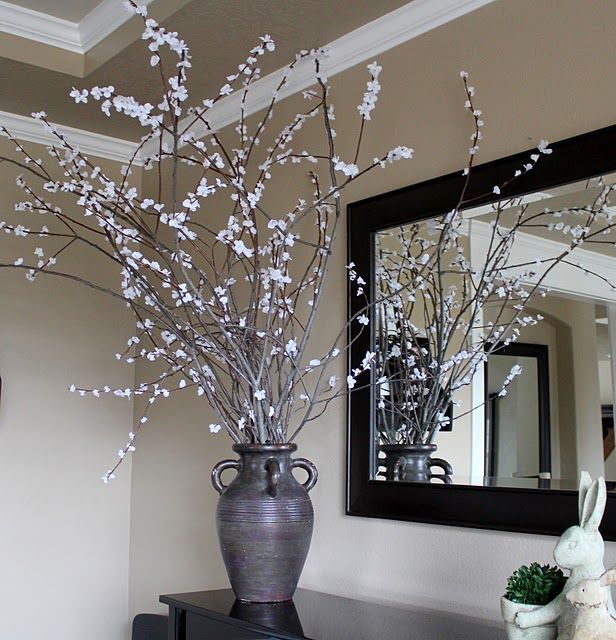 Creative Ideas For Branches As Home Decor: Branches With Silk Flowers Glued On