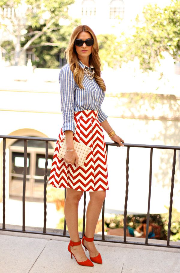 Red Chevron Skirt 4th of July inspiration