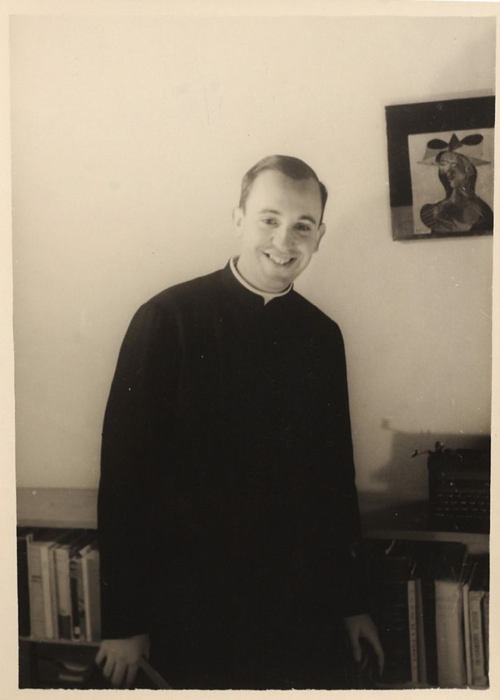 An image from 1966 of the Argentine seminarian Jorge Mario Bergoglio in the El Salvador School, where he taught literature and psychology in Buenos Aires.