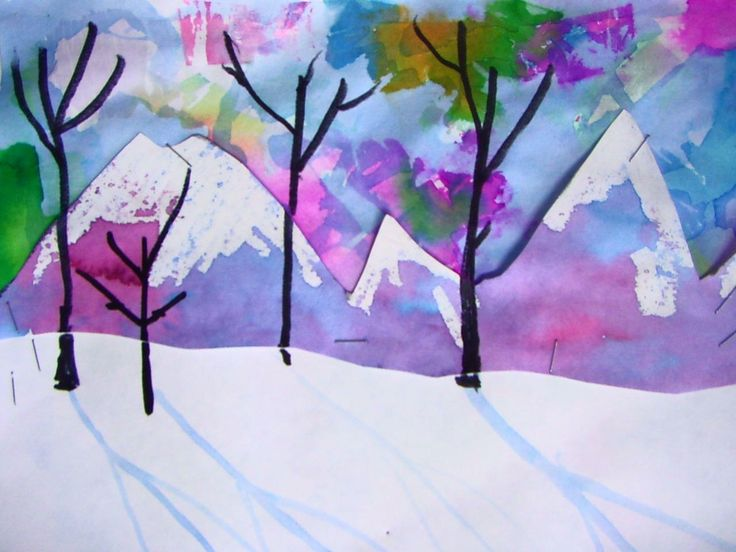 Snowy landscape - paper dying, watercolour, and crayon resist in one project!