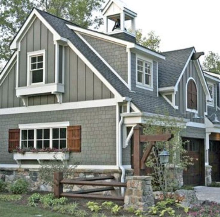 this is the color scheme i like bestgray wood shutters gray shingles vertical siding and especially the stone - Green House Paint Colors