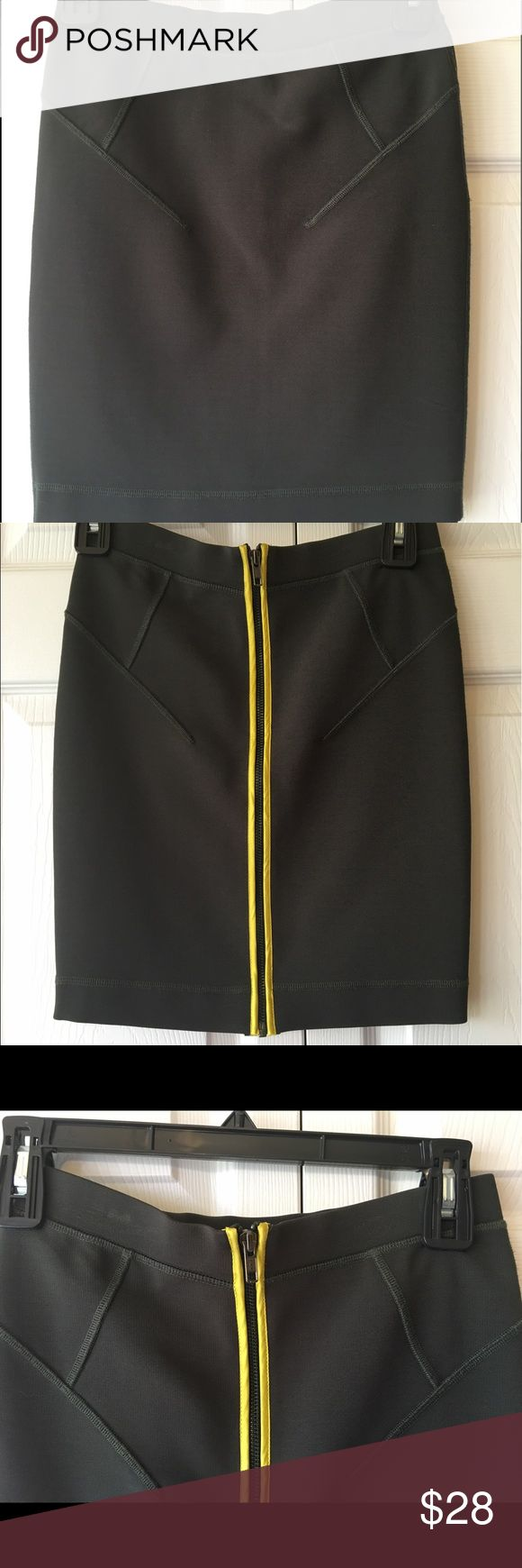 """French Connection Bandage Skirt French Connection Bodycon Skirt with yellow zipper detail.   Cute with tucked in floral top  Full length: 17"""" French Connection Skirts Pencil"""