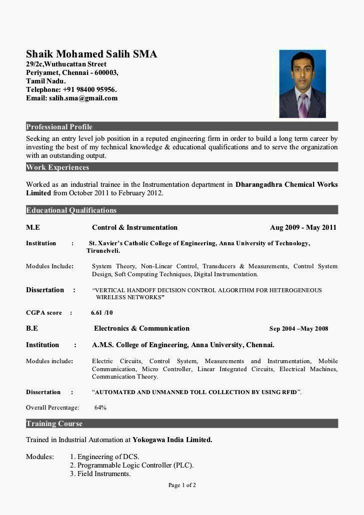 Experienced Mechanical Engineer Resume Elegant Experienced Mechanical Engineer Resume Doc In 2020 Resume Format For Freshers Best Resume Format Engineering Resume