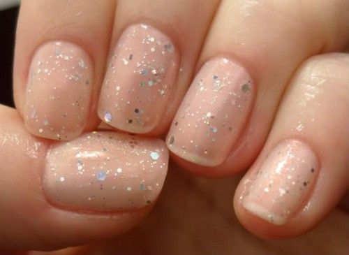 ::BRIDE IDEA:: Wedding Nails, Makeup, Beauty Inspiration - Nude Nails With Glitter