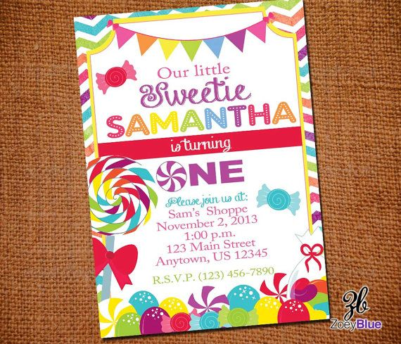 Candy Shop Lollipop Printable Birthday Party Invitation (1st First Birthday) - Digital File on Etsy, $10.00