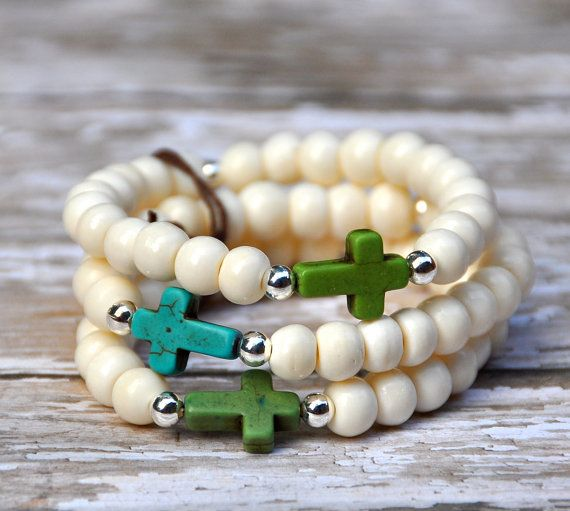 Trio of Turquoise Crosses & Ivory Bone Bead by BeadRustic on Etsy, $55.00