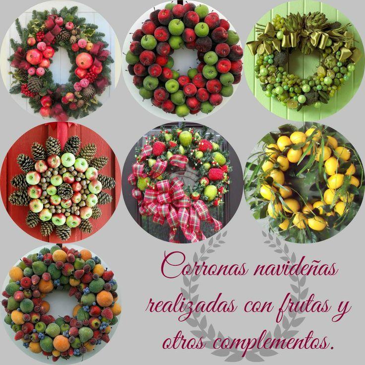 Corona navide a con frutas buscar con google coronas for Secar frutas para decoracion