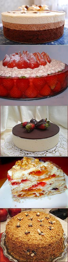 Более трех десятков тортов. **Beautiful idea for the cake with the strawberries...though probably not terribly practical to slice.