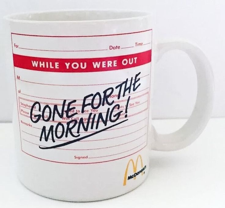 McDonalds Coffee Mug Cup Gone For The Morning Restaurant White Red Rare Vintage