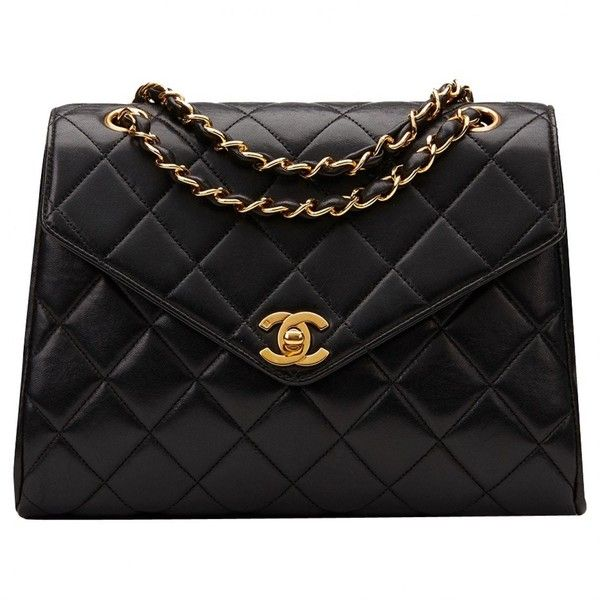 Pre-owned Chanel Leather Handbag ($2,600) ❤ liked on Polyvore featuring bags, handbags, black, hand bags, leather handbags, leather handbag purse, real leather purses and chanel handbags
